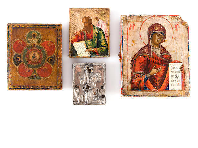 Icon of Mother of God of Kazan, 19th century, together with Icon of Christ of All Seeing Eye, early 20th century, Icon of Mother of God, 20th century, Icon of St. John, probably early 20th century, and Icon of Christ with group of saints in silver cover, Moscow, 1851, master MD, 12 x 10in; 7 x 5 1/2in; 5 1/2 x 4 1/4in; 3 1/2in