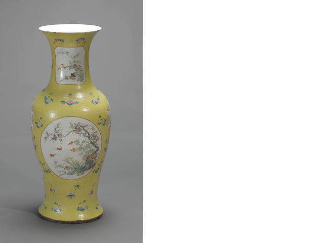 A massive porcelain baluster vase with sgraffito yellow and famille rose enamel decoration Republic period