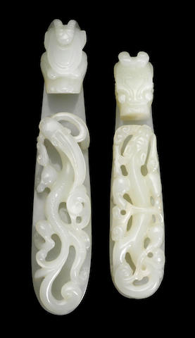 Two nephrite belt hooks 18th century