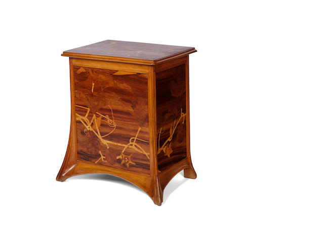 A Majorelle fruitwood marquetry-inlaid mahogany blanket chest circa 1900