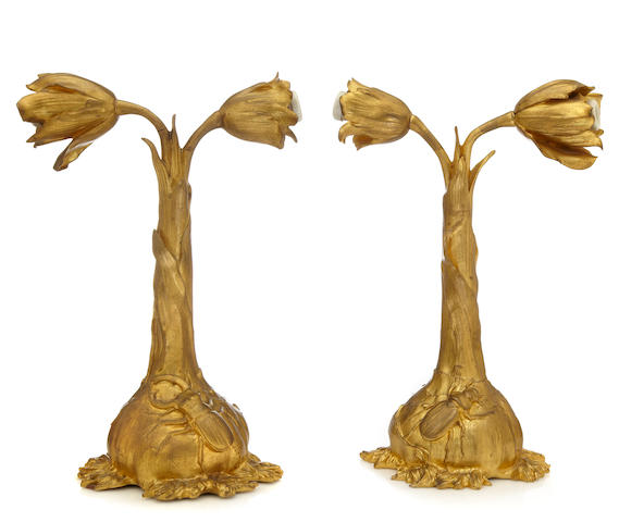 A pair of Ernest Sanglan gilt-bronze Foliate and Stag Beetle table lamps Blossoms into Light, circa 1900