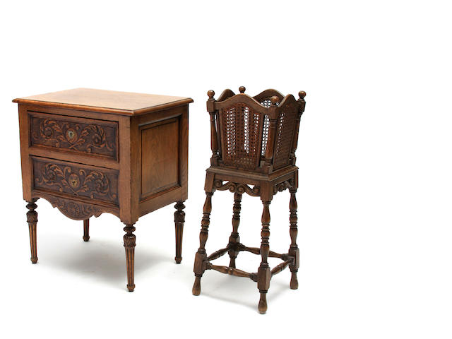 A Louis XVI style carved oak side table together with a Jacobean style oak plant stand