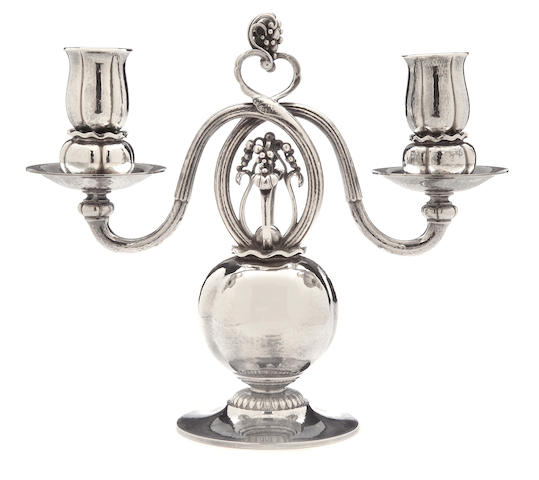 A Georg Jensen  sterling silver  two-light candelabrum Copenhagen,  1945 - 1977
