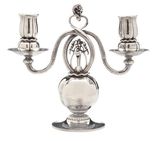 A Georg Jensen sterling silver two-light candelabrum Copenhagen, 1945 - 1977