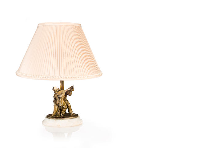 A Karl Perl carved-ivory and silvered-bronze lamp: Pierrot Austrian, circa 1910