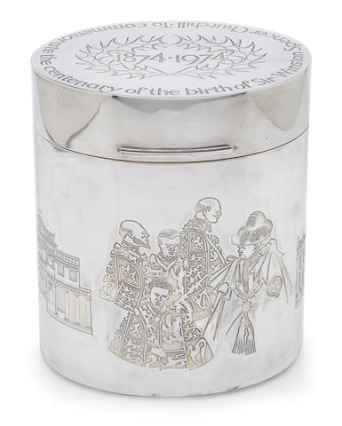 A John Churchill and Alex Styles for Garrard & Co. Ltd. parcel-gilt sterling silver  Sir Winston Churchill commmemorative oval humidor London, 1974
