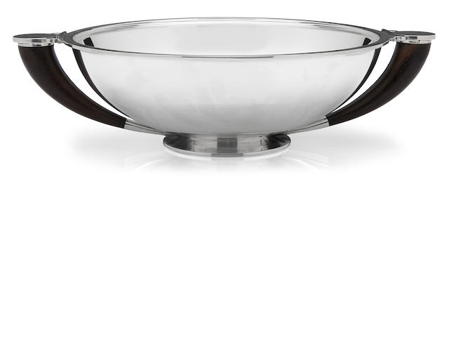 A Georg Jensen  sterling silver and ebony two handled bowl Copenhagen,  1945 - 1977