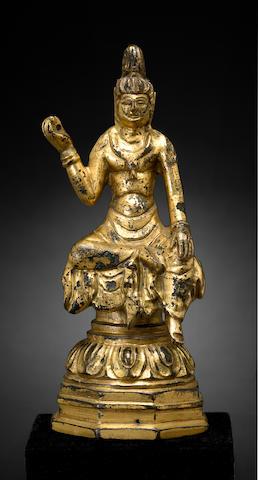 A gilt bronze figure of a bodhisattva  Tang dynasty