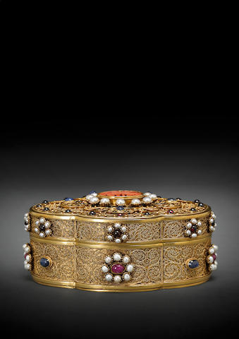An exquisite embellished gilt silver jewelry box  19th/20th century