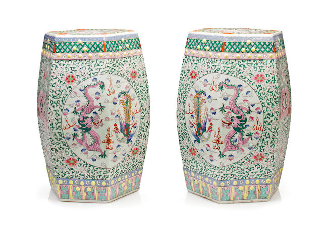A pair of hexagonal porcelain garden seats
