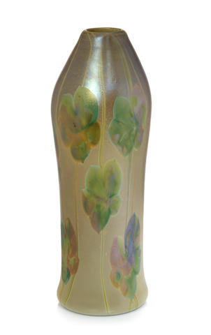 A tall Tiffany Studios decorated Favrile glass vase  circa 1905