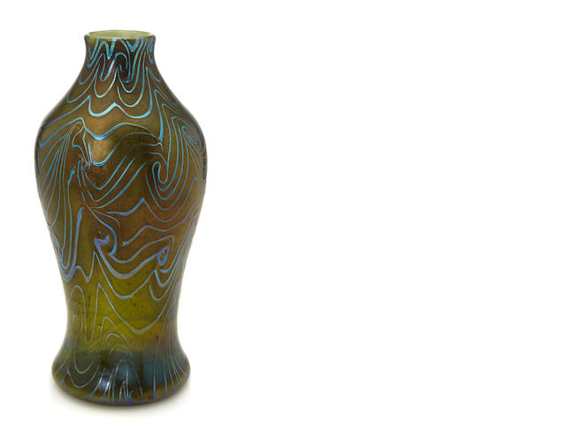 A Tiffany Studios decorated Favrile glass vase circa 1900