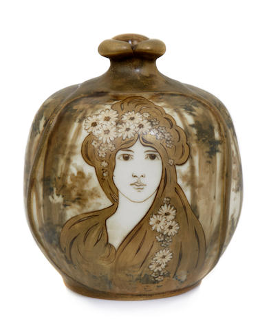An Amphora glazed porcelain Portrait vase, decorated by Nicholaus Kannhaüser produced by Reissner Stellmacher & Kessel, 1892-1905