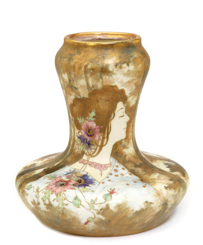 An Amphora glazed porcelain and enamel Portrait lamp base produced by Reissner Stellmacher & Kessel, 1892-1905