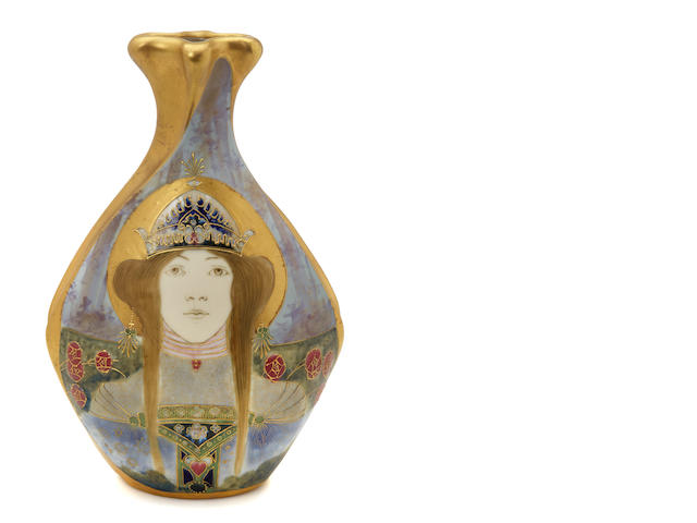 An Amphora glazed porcelain Portrait vase: Allegory of Russia circa 1899