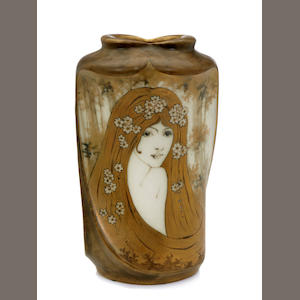 An Amphora glazed porcelain Portrait vase: decorated by Halmar produced by Reissner Stellmacher & Kessel, 1892-1905
