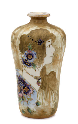 An Amphora glazed porcelain and enamel Portrait vase produced by Reissner Stellmacher & Kessel, 1892-1905