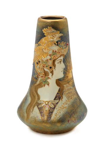 An Amphora glazed porcelain  and enamel Portrait vase: Allegory of France produced by Reissner Stellmacher & Kessel, 1892-1905