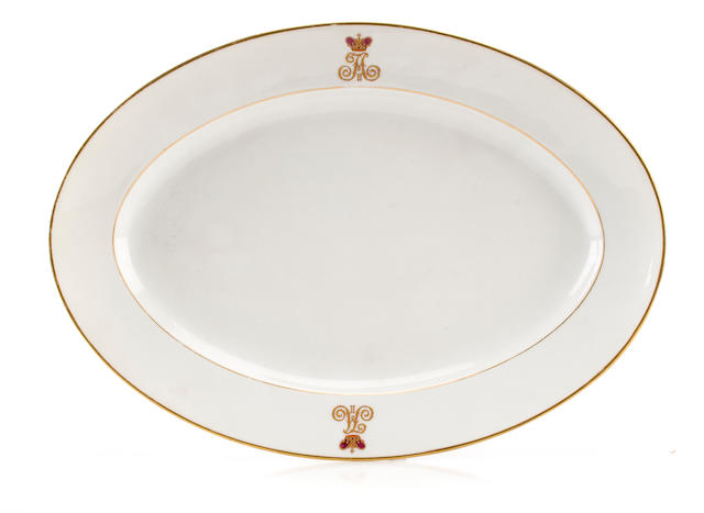 A Russian Imperial porcelain oval platter<BR />Imperial Porcelain Factory, St. Petersburg, 1908