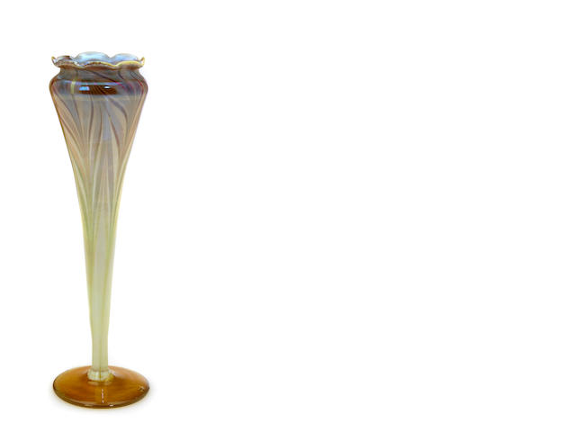 A Tiffany Studios decorated Favrile glass  floriform vase 1892-1918