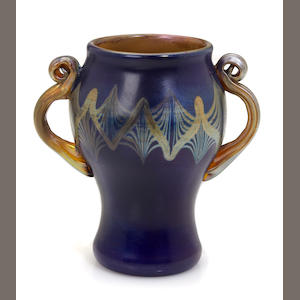 A Tiffany Studios Favrile glass two-handled Tel-el-Amarna vase circa 1913