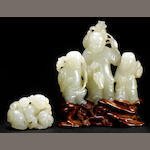 A white jade figural carving 19th century