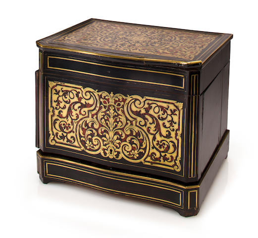 A Napoleon III gilt bronze mounted Boulle inlaid tantalus<BR />late 19th century
