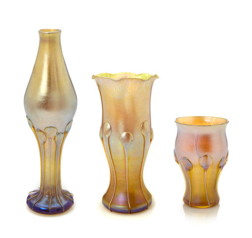 Three Tiffany Studios applied Favrile glass vases 1892-1906