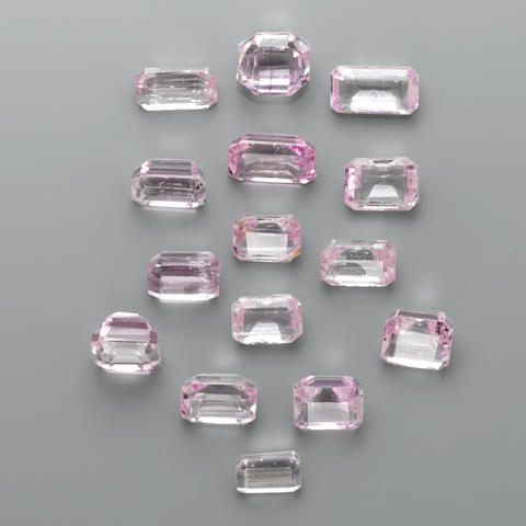 Group of Fifteen Faceted Kunzites