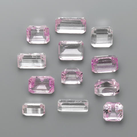 Group of Twelve Faceted Kunzites