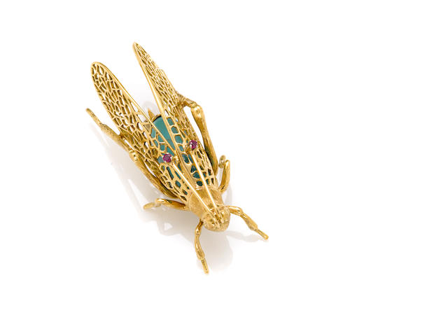 An 18 karat gold and turquoise 'grasshopper' brooch with ruby antennae Made in Italy