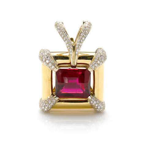 A rubellite and diamond pendant enhancer, Ilka