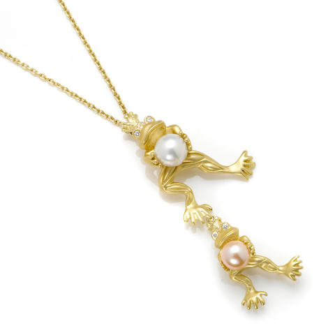 A cultured pearl, colored cultured pearl, diamond and 18k gold frogs wearing crowns pendant-brooch together with a 14k gold chain