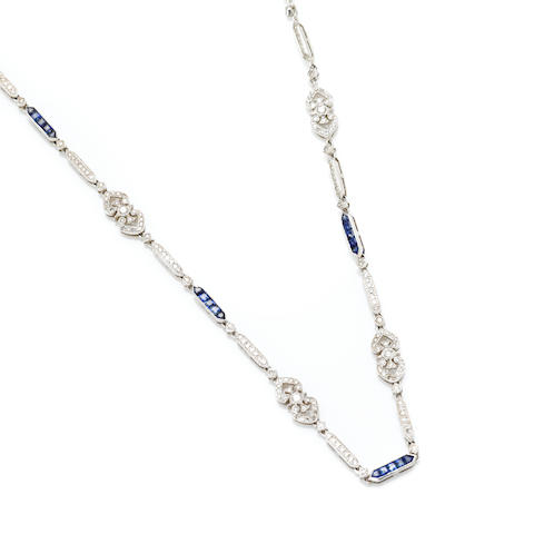 A round brilliant cut and single-cut diamond, sapphire and 18 karat white gold long chain length 32in