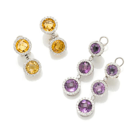 2 pairs of diamond, citrine and amethyst, 18k white gold earrings