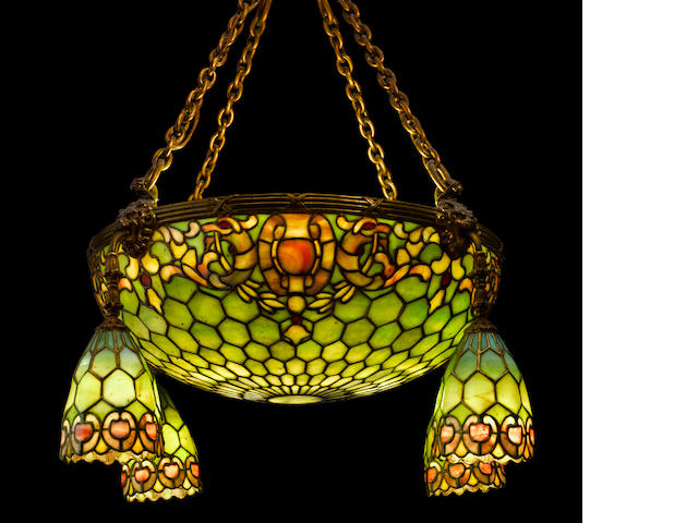 A Duffner & Kimberly leaded glass dome and four-light chandelier  early 20th century
