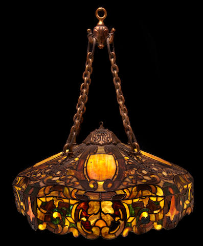 A Duffner & Kimberly leaded glass Renaissance chandelier early 20th century