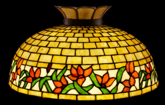 An American leaded glass floral chandelier Possiby Royal Art Glass Co., early 20th century