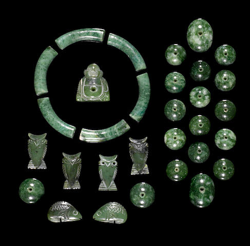Group of Nephrite Cabochons and Components