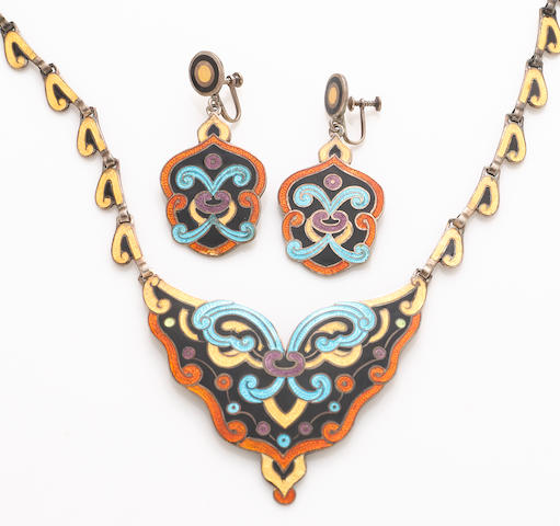 An enamel and silver necklace together with a similar pair of screwback earrings, Margot de Taxco