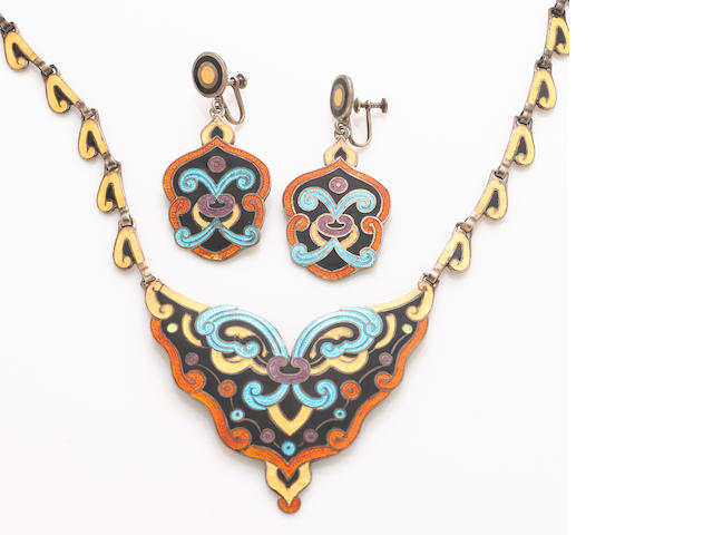 An emamel and silver Margot de Taxco necklace and earrings