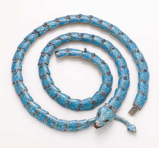 A Margot de Taxco blue enamel serpent belt with two extensions