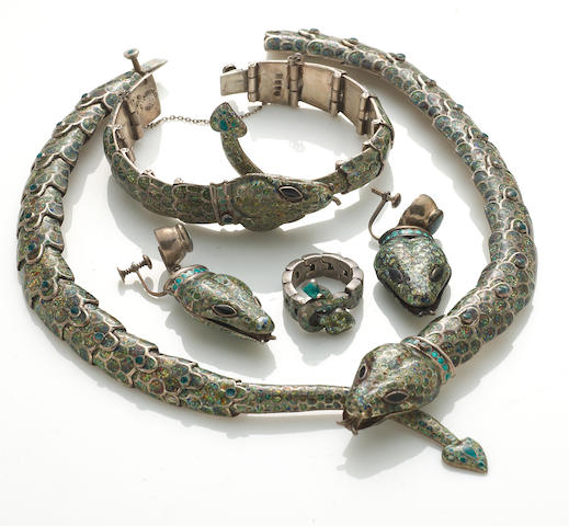 A suite of enamel and silver snake motif jewelry, Margot de Taxco