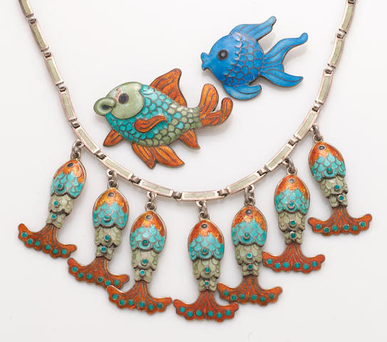 A group of three enamel Margo de Taxco fish pieces: 1 necklace and 2 pins