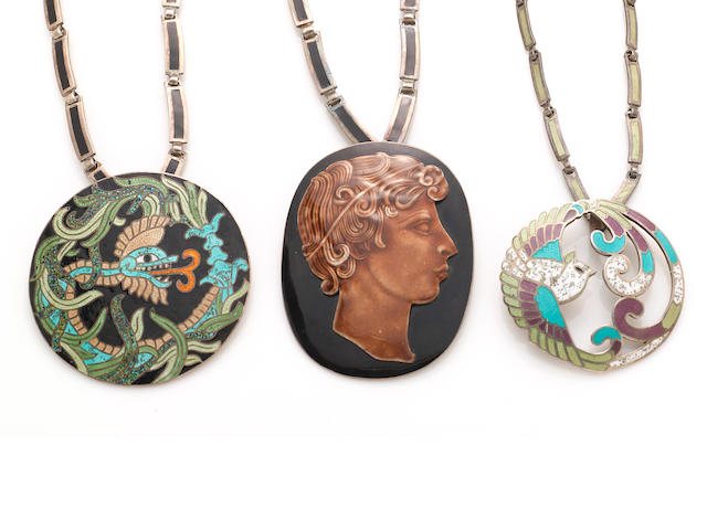 A group of three enamel Margo de Taxco pendant necklaces