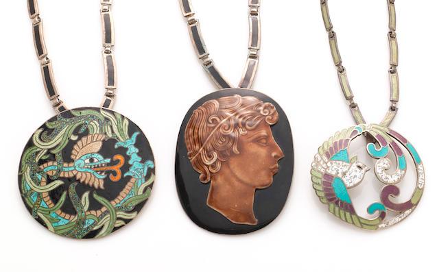 A group of three enamel Margo de Taxco pendant necklaces