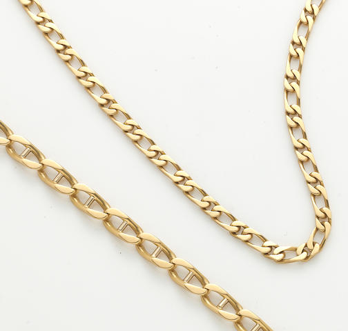 An 18k gold link chain and bracelet (with two additional bracelet links)