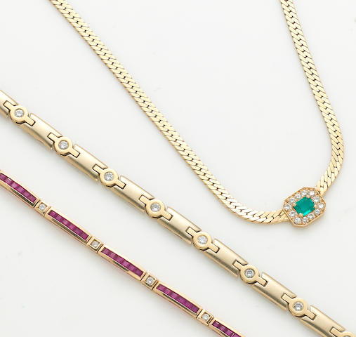 A collection of diamond, ruby, emerald and 14k gold jewelry, including 2 bracelets and a necklace