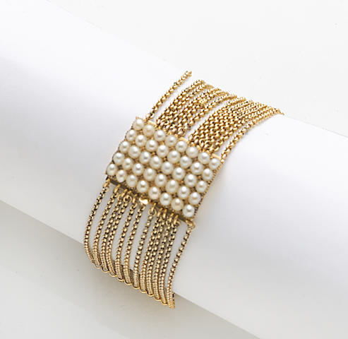 A cultured pearl and 14k gold multi-strand bracelet