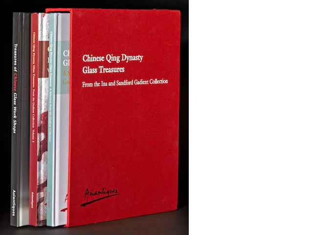 A three-volume set of catalogues: Chinese Qing Dynasty Glass Treasures from the Ina and Sandford Gadient Collection  Asiantique, Francois and Gilles Lorin, Florida